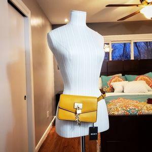 DKNY Stylish Leather Belt Bag, - Mango/Gold